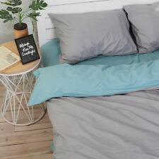 Natural Cotton Double-Sided Duvet Cover Gray & Aquamarine Twin Full Queen King