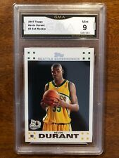 2007 Kevin Durant Topps #2 White Rookie RC GMA 9 Mint!
