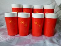 Mid Century Atomic Hi-Kool Orange Glasses 12 Thermo Drinking Cups Tumblers