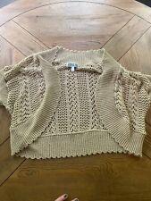Robbie Bee Vintage Tan Crochet Cardigan Sweater Size L