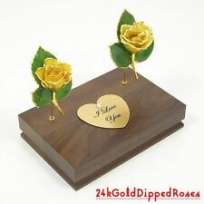 "Two 3"" 24k Gold Dipped Yellow Roses & Stand (Free Christmas Gift Box)"