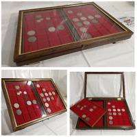 Teca LUSSO 2 Vassoi in legno per monete vetrinetta per collezionismo Noce