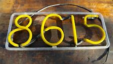 Vintage Neon Store Address Display Old Sign Yellow Glass Advertising Numbers