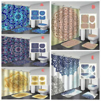 Nature Scenery Shower Curtain Toilet Seat Cover Rugs Bath Mat Bathroom Set Decor