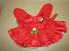 Build a Bear Red Velvet Fairy Christmas Dress Wings Holly dress clothes