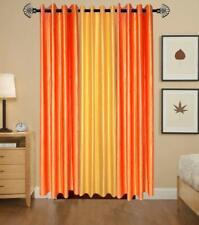 New Polyester Long Crush 3 Piece Curtain Set - 2 Orange 1 Yellow - 5ft