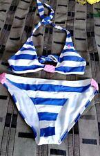 Us Polo Assn Blue White Stripes halter Bikini Womens Junior Sz L