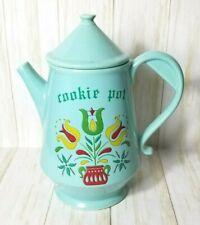 Vintage McCoy Pottery Coffee Pot Cookie Jar Blue Dutch Floral Tulips Ceramic