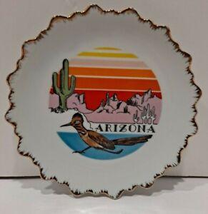 VTG Decor Arizona Southwestern Kitschy Road Runner State Souvenir Plate BOHO