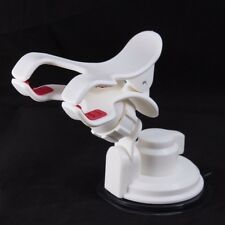 White Double V Clip Short Neck Cell Phone Holder Windshield Car Mount