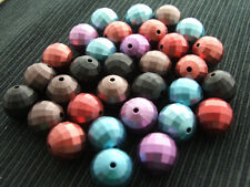 10x 16mm round beads ~ ASSORTED COLOURS METALLIC PEARL FACETED