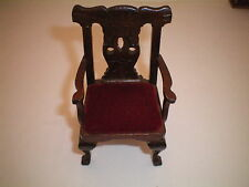 VINTAGE WOOD VELVET SIDE CHAIR DINING ROOM DOLLHOUSE FURNITURE FREE SHIPPING