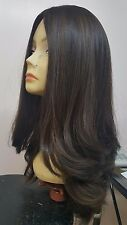 Malky Wig Sheitel 100% European Kosher Human Hair Medium Brown 8-4/ Highlights