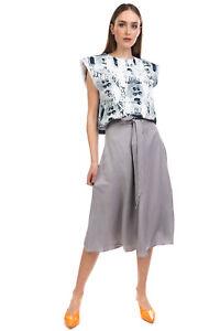 RRP €160 IRIS & INK Flare Skirt Size 12 Linen Blend Gathered Tie Waist