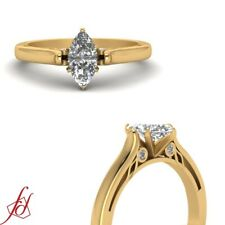1/2 Carat Marquise Cut Diamond Rings With Bezel Set Round Accents GIA Certified