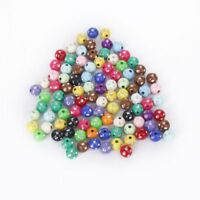 Lot of 100 plastic acrylic beads colored with strass glitter 8mm F8W7