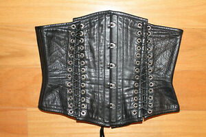 "Dark Garden Corsetry steel bone underbust corset black leather lace up 27"" $2.5k"