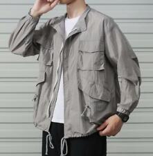 M-5XL Men Summer Loose Coat Breathable Fat Tooling Jacket Thin Tops Long Sleeve