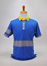 Iliac Golf Bert Lamar Mens Polo Shirt Medium Blue Yellow Plaid and Checks USA