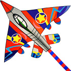 Honbo Huge Fighter Plane Kite For Kids And Adults- 58  Wide With Long Tail- Ea