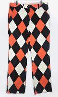 Loudmouth Mens Golf Pants Diamond Argyle Cotton Orange Black Sz 36xUF 36 UF