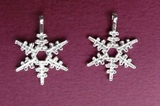 "200 SNOWFLAKE Charms Pendant ~Bright Silver Color 23x20mm w/ loop Almost 1"" high"