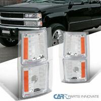 94-98 Chevy C10 C/K Silverado Suburban Pickup Chrome Corner Signal Lights+Amber
