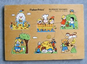 Vintage Fisher Price Wooden Puzzle 1971-1972 Nursery Rhymes