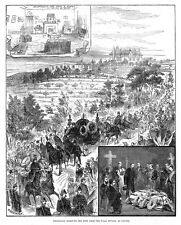 CANNES Removal of the Body of Prince Leopold from Villa Nevada - Old Print 1884