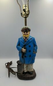 Vintage Seaman Captain Nautical Table Lamp Fisherman Sea Beach Decor Lighting