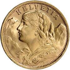 Swiss Gold 20 Francs (.1867 oz) - Helvetia - BU - Post 1933 - Random Date