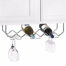 Chrome Steel Hanging Under Counter Mount 6-Bottle Wine Rack with Stemware Holder