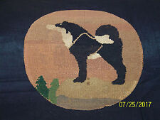 "Antique Grenfell HandMade in Canadian Labrador Hooked Mat Rug ""Sled Dog"""