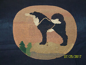 "Antique Grenfell HandMade in Canadian Labrador Hooked Mat Rug ""Sled Dog"""