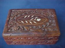 Vintage India Hand Carved Wooden Trinket Jewelry Box