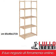 SCAFFALE A 5 RIPIANI 65x40x171h IN LEGNO DI PINO NATURALE