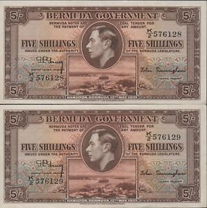 Bermuda  5/-  12.5.1937   P 8b  Series  K/2  2 Consecutives  Circulated Banknote