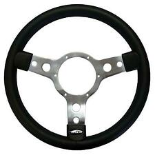 """Genuine Mountney 14"""" Traditional Leather Steering Wheel with Polished Centre"""