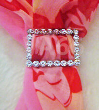 Rhinestone Scarf Ring Silver White Stones Rectangle Buckle Scarves Cincin Tudung