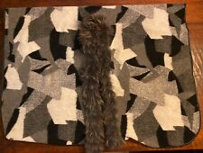 Mitchies Matchings Designer Genuine Raccoon Fur Poncho Mint Condition 1 size