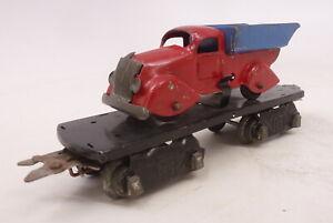 """MX Vintage Marx Prewar 6"""" 8 Wheel 2562 Flatcar with Red/Blue Dump Truck Car"""
