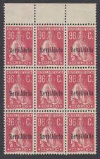 PORTUGAL:1929 Ceres 96c red opt Revalidado SG 810 MNH block of nine