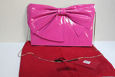 New Valentino Pink Patent Leather Lacca Bow Clutch Shoulder Bag Purse