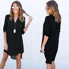 New Women Blouse Chiffon Long Sleeve T Shirt Casual Loose Short Dress Tops Black