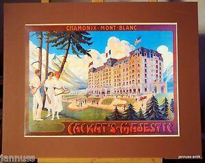 alte Reklame Druck hinter Passepartouts 80er Chamonix Mont Blanc 50x40 cm 845