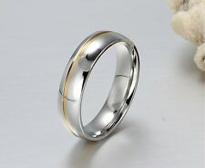 6mm men women  titanium  wedding band engagement ring silver gold size W  aln115