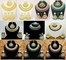 Indian Kundan Necklace Gold Plated Party Wear Pakistani Pearls Wedding Jewelry