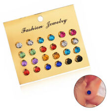 Unisex 12Pairs/Set Crystal Ear Studs Party Multi-Color Earrings Fashion Jewelry
