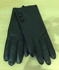 Warehouse Black Soft Leather Gloves with side button detail. Size M