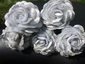 6 Bridal Wedding silver rose Flower Hair Pins Clips Grips Handmade